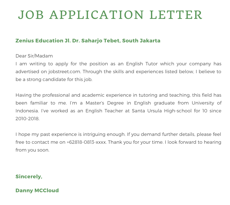 Prolog Materi Job Application Letter Zenius Education