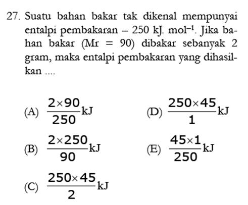 Contoh Soal Kimia 7
