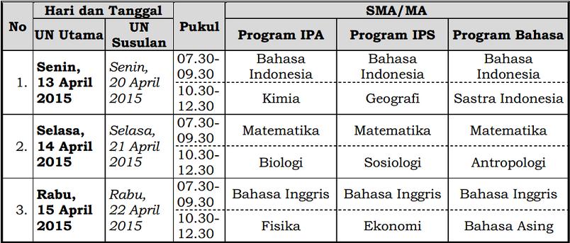 jadwal ujian nasional sma