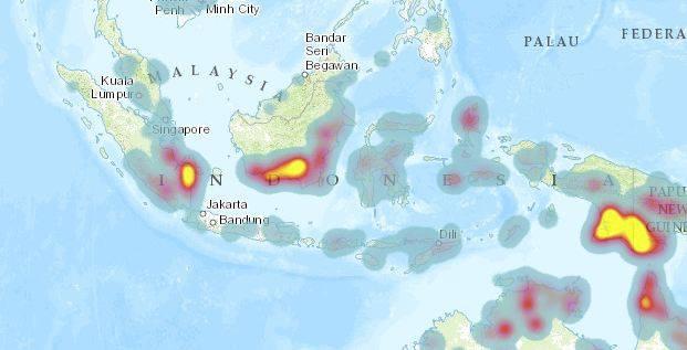 Sumber: http://fires.globalforestwatch.org/#v=map&x=122.07&y=-5.44&l=4&lyrs=Active_Fires (lo bisa klik link untuk liat data realtime)