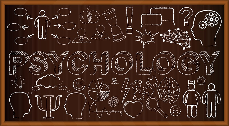 Chalk board doodle with symbols on psychology. Vector illustrati