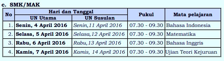JADWAL UN 2016 SMK