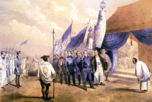U.S. naval officer Commodore Matthew Perry meets the imperial commissioners at Yohohama, Japan. Illustration from the official narrative of the expedition. Image published: 1856.