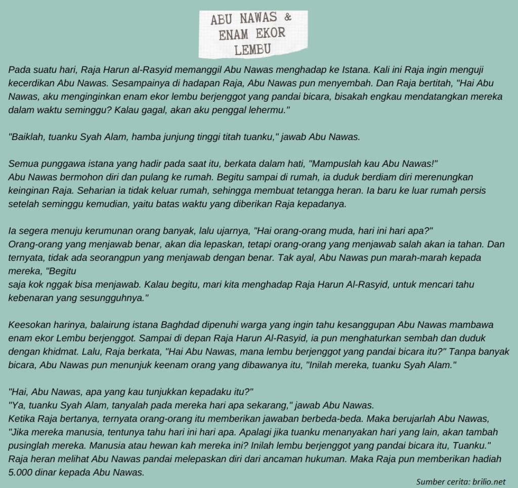 Contoh Hikayat Keagamaan Abu Nawas