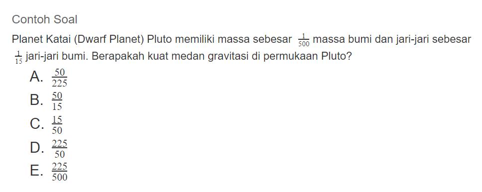 Contoh soal hukum gravitasi newton 2
