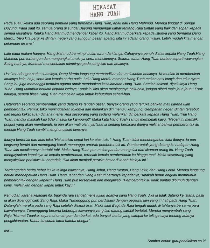 Contoh Hikayat Melayu Asli Hikayat Hang Tuah