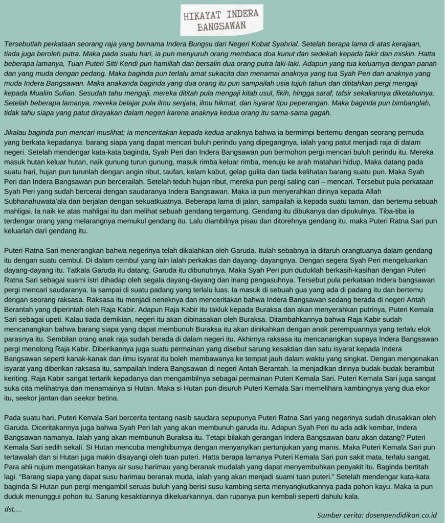 Contoh Hikayat Biografi Indera Bangsawan