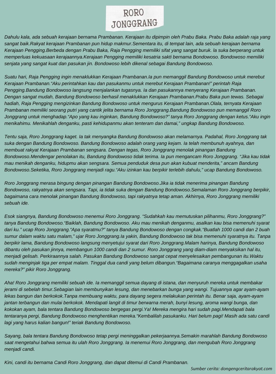 Contoh Cerita Jawa Hikayat Roro Jonggrang