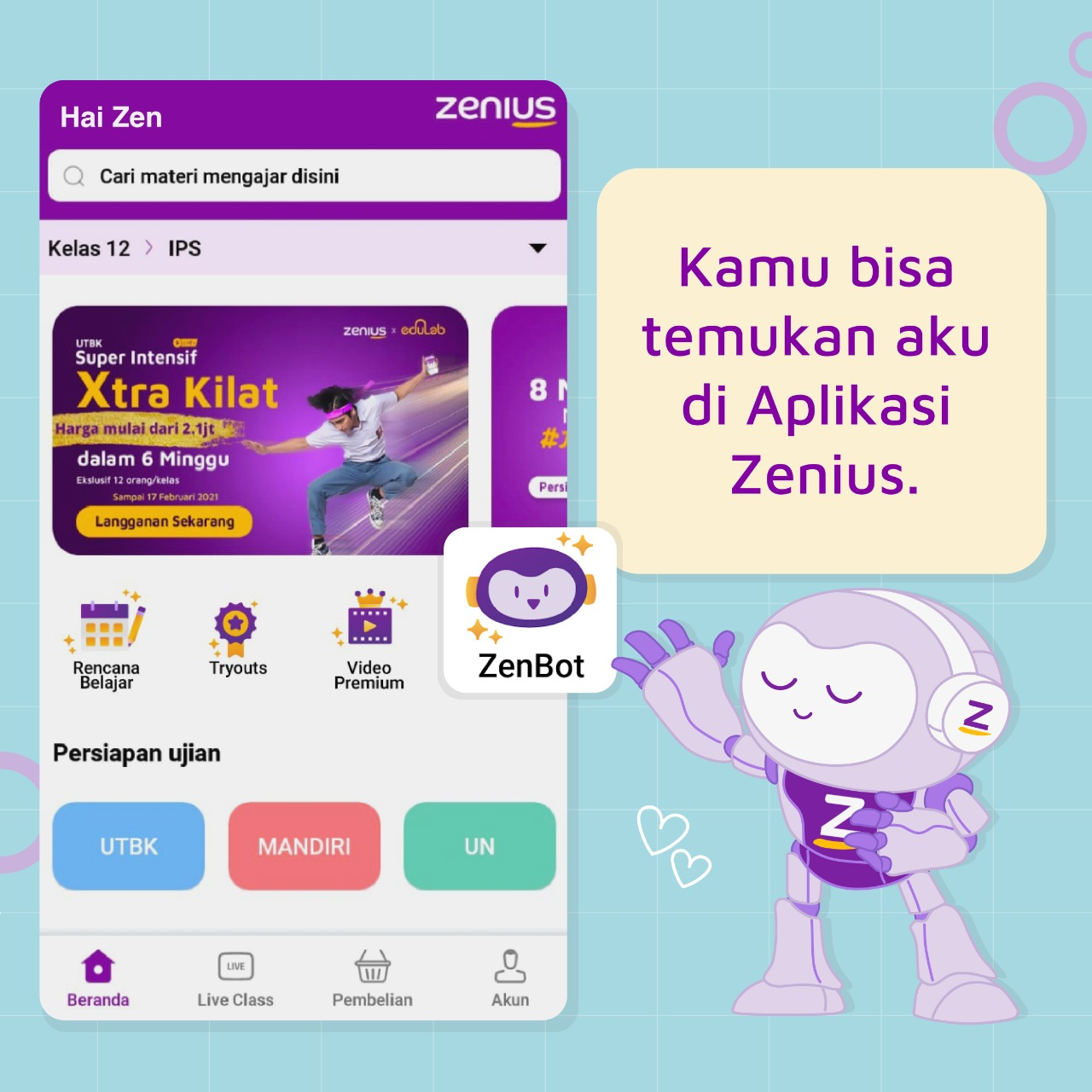 Aplikasi ZenBot by Zenius Education
