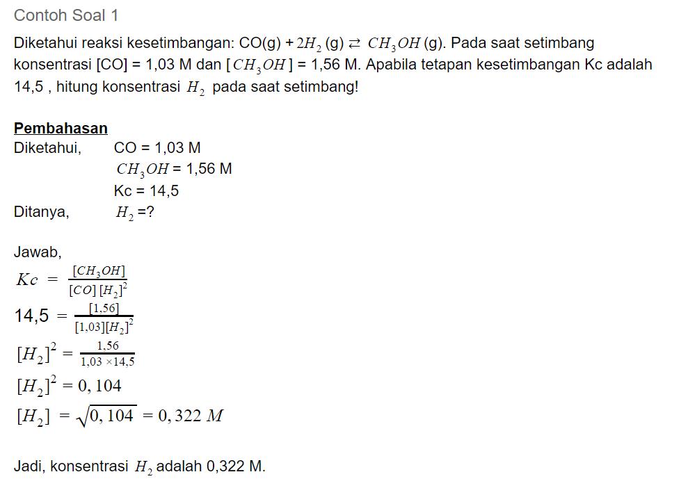 contoh soal 1 kesetimbangan kimia