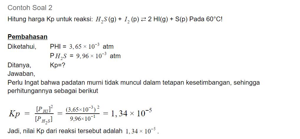 contoh soal 2 kesetimbangan kimia