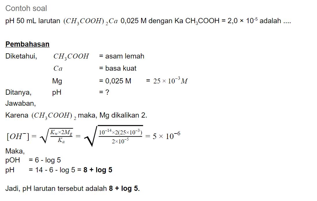 contoh soal Hidrolisis garam