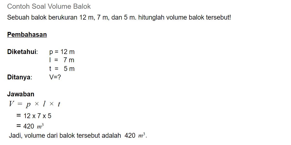 contoh soal volume balok