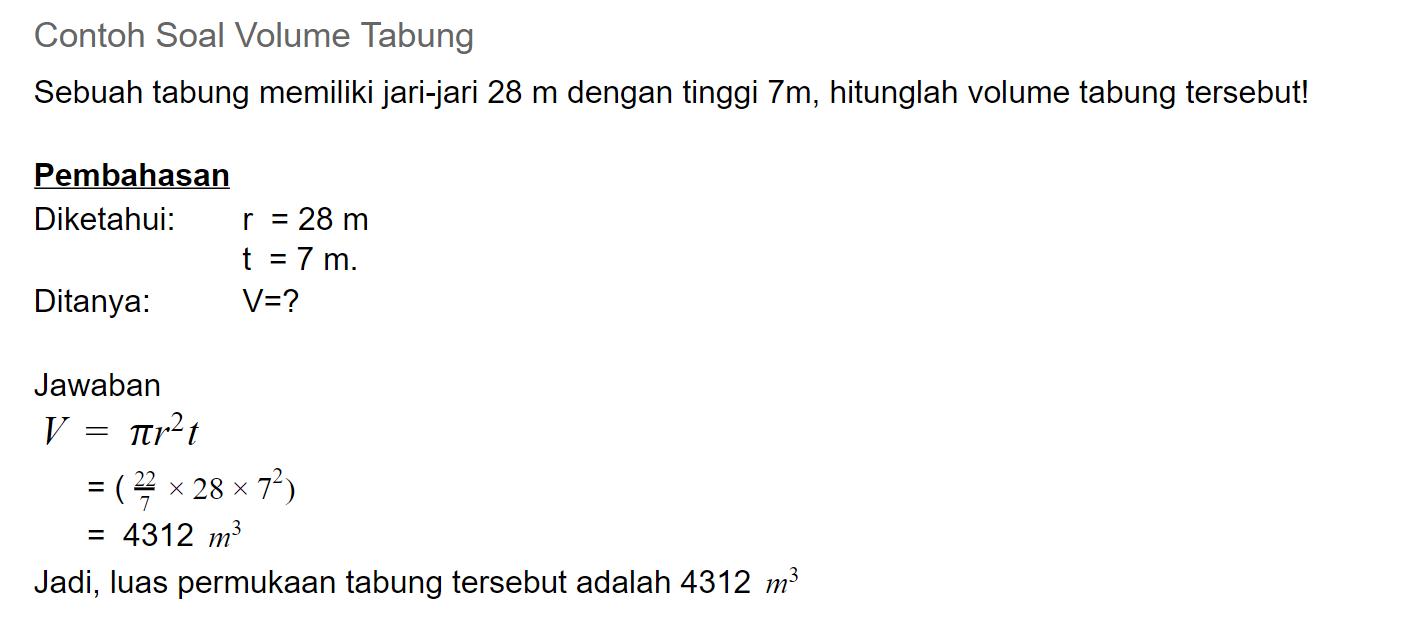 contoh soal volume tabung