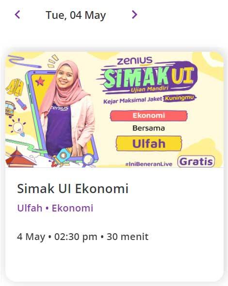 Zenius Live Class SIMAK UI 4 Mei 2021 Ekonomi