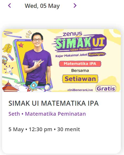 Zenius Live Class SIMAK UI 5 Mei 2021 Matematika IPA