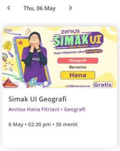 Zenius Live Class SIMAK UI 6 Mei 2021 Geografi