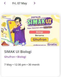 Zenius Live Class SIMAK UI 7 Mei 2021 Biologi